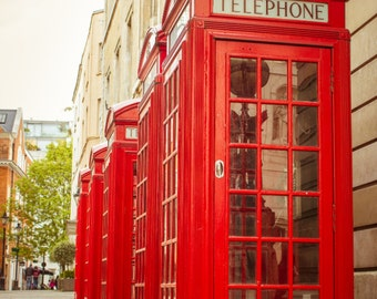 London Photography Print, London Red Phone Box, Travel Photography, British Home Decor, London Decor | Wall Art Print