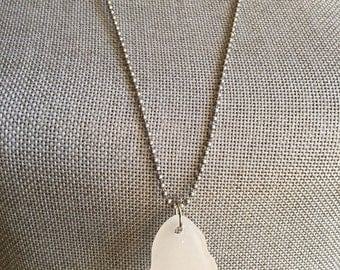 White beach glass necklace
