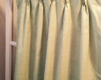 retro light mint green pinch pleated drape light perma prest like curtain mid century
