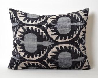 Black Ikat Pillow Cover - Soft Handwoven Silk Velvet Decorative Throw Black Grey White Ikat Pillow Cover Bohemian Home Decor Cushion Case