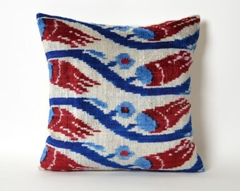 15x15 Velvet Pillow Cover red blue pillow pillows floral english country home decor chair cushion cover ethnic cushion uzbek pillow