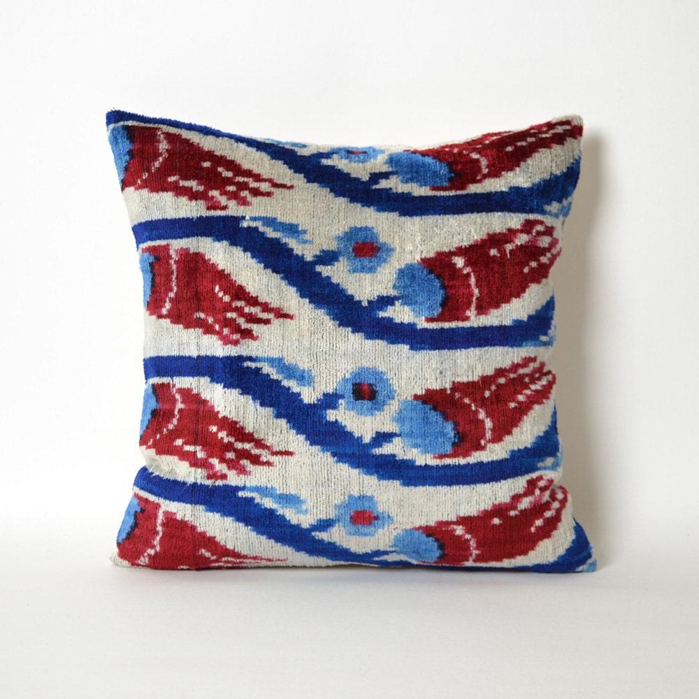 15x15 Throw Pillow Cover : 15x15 Velvet Pillow Cover red blue pillow pillows floral