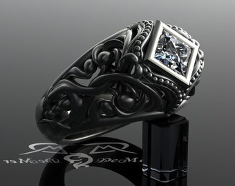 princess diamond 14kt black gold engagement ring scrollwork filigree gothic victorian vintage unique intricate - R2d2 Wedding Ring
