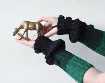 hand-knitted hand warmers/arm warmers/ long fingerless gloves/black-green-light green color/made from wool