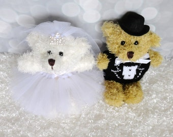 MINI Bride and Groom Teddy Bears, bridal shower, wedding, flower girl gift, wedding gift, mini teddy bears, teddy bear toss