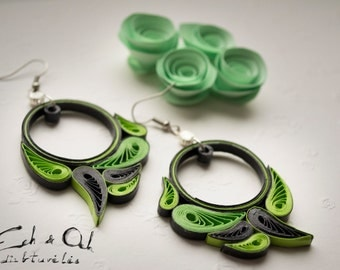 Paper quilling eco-friendly salad green black dangle earrings