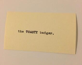 Calling Cards (custom) printed by typewriter, one dozen