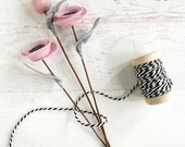 Mini Felt Flower Bouquet - Rolled Flowers and Pom on a Stem - Valentines Day Gift for Friend, Mom, Child