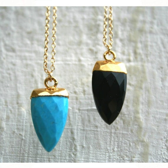Agate arrow point faceted pendant necklace silver 925 gold plated chain, black and turquoise arrow point pendant necklace, arrow necklace