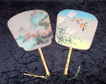 1930s Japanese Hand Painted Silk Court Fans x 2. Antique Fans. Japanese Silk Art. Japanese Costume Accessories. Japanese Decor. Asian Decor.