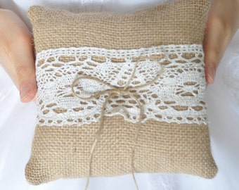 """Burlap ring pillow  with Ivory / Gold cotton lace Size 6"""" x 6"""""""