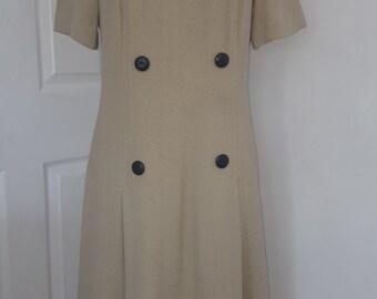60s Dress / Berkertex Mayfair Dress / Evlan Fabric / Dark Beige Vintage dress /  4 Button dress / Short Sleeved Dress