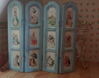 Dolls House 12th scale Peter Rabbit & Friends Four Panel Screen