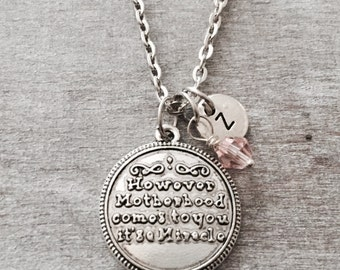 SALE, How ever motherhood comes to you its a miracle, IVF, Baby Adoption, Adoption, new mom adoption, Silver Necklace, Charm Necklace, Gifts