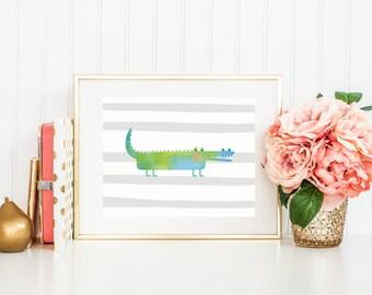 Alligator Art Print, Nursery Art, Jungle Nursery, Grey Stripes