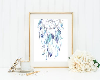 Dream Catcher Art Print, Blue Dream Catcher with Feathers and Beads
