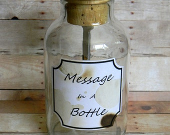Droll Message in a Bottle - 16GB USB Flash Memory Stick Thumb Drive in Large Antique Style Bottle - Great Gift Idea - Send Photos & Notes