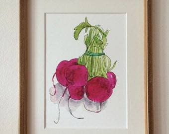 "Digital print of a drawing ""radishes"", A5"