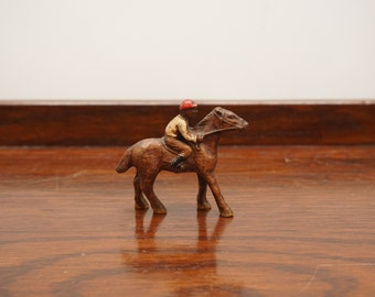 Small Vintage Brown Wooden Horse with Jockey Rider Figurine