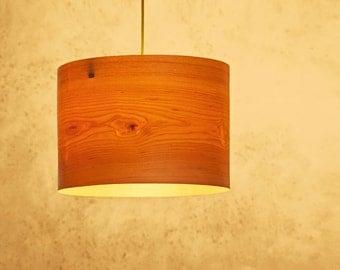 """Drum Shade Pendant light """"Cylinder"""" -Maple Wood Veneer-handmade Veneer Lamp"""