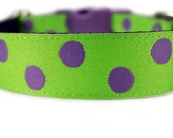 """Lime Green Dog Collar 1"""" Polka Dot Dog Collar"""