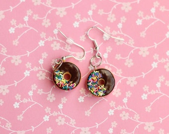 Donut Earrings, Miniature Donut Earrings, Miniature Food Jewelry, Chocolate Frosted Donut