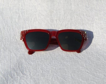 Vtg 80s Dark Red Sunglasses with Rhinestones