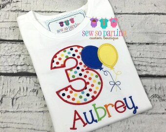 Girl birthday shirt - Primary colors birthday shirt - Balloon Birthday shirt - Rainbow birthday shirt - 1st birthday balloon shirt