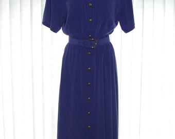 Vintage 1980s (50s Style) Purple Dress - Swing Skirt - Liz Claibourne - Size 10