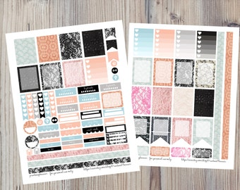 Cute Girly Laces Planner Stickers for Erin Condren Print at Home DIY