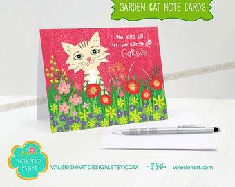 Garden Cat Note Cards, Note Cards, Cat Stationery, Cat Art, Stationary, Blank Note Cards, Cat Paper Goods, Cat Gift, Garden Cat