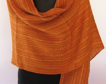Handwoven cotton and linen shawl
