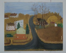 Antique Americana Folk Art Painting on Canvas DM Bushnell, New England Town Landscape Autumn Colonial Homes Grandma Moses, Farmhouse Country