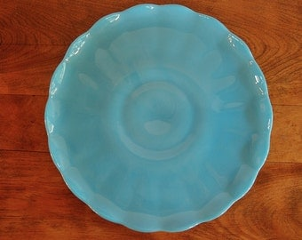 Blue Milk Glass Cake Stand, Turquoise Glass Ruffle Edge Low Wedding Cake Plate, Cupcake Stand, Bridal, Vintage Kitchen
