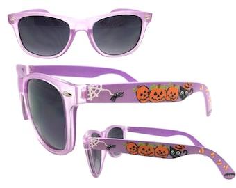 Women's Happy Halloween Hand Painted Purple Sunglasses with Black Cat, Jack-O'-Lantern Pumpkins, Candy Corn, Bat, Ghost, Spider Web, Spider
