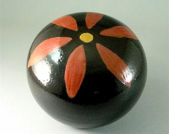 Ceramic Garden Art Orb, Black with Red Flower / Pottery Garden Sphere