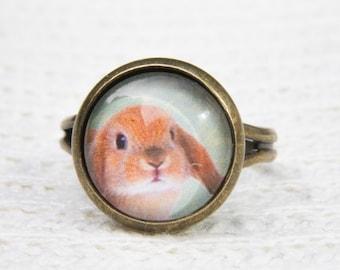 Rabbit Ring, Animal Ring, Glass Dome Ring, Adjustable Ring, Statement Ring, Green Ring