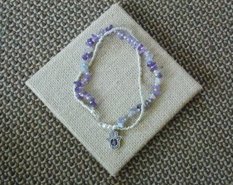 BEADED: Two Double Twin Strand Silver Amethyst Hamsa Hand of Fatima Beaded Strung Bracelet