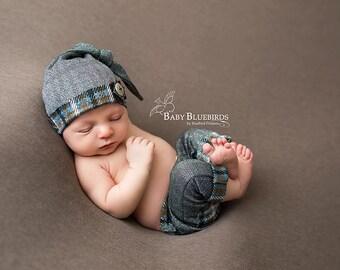 SALE Newborn boy set, Newborn boy hat , newborn boy pant, newborn boy metalluc knit Pant Set, photo prop