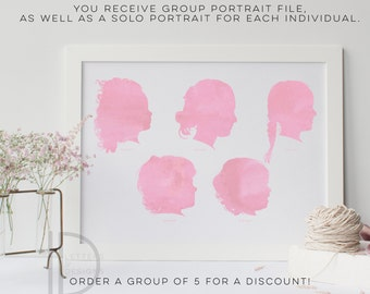 Child Silhouette - Group of 5 - Watercolor Silhouette - custom silhouette - family Silhouettes - DIGITAL PRINTABLE