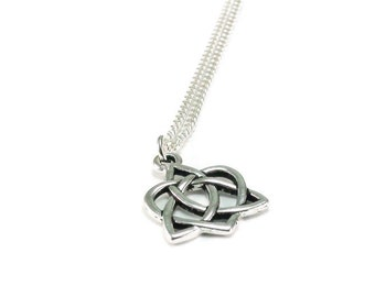 Celtic Knot Heart Necklace Sterling Silver Plated Chain