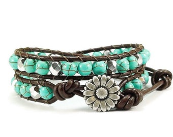Leather Wrap Bracelet Turquoise Blue Magnesite Gemstones Daisy Button Beaded Jewelry