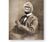 "Gorilla Art Print Animal Art Vintage Harambe Animal Rights Animals In Clothes Anthropomorphic Mixed Media Collage (3 sizes) ""Harambe"""