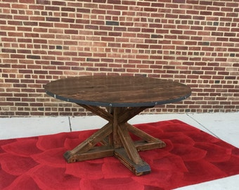 Round Dining Table, Reclaimed Wood Table, Handmade, Modern, Solid Wood, Kitchen Table, Round Table, Pedestal Table, Metal Table