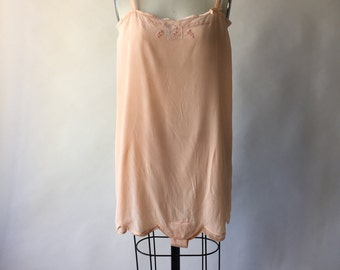 20s peach silk crepe step-in teddy / S / M
