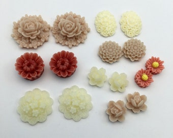 16 pcs resin cabochon flowers ,assorted sizes,#FL143