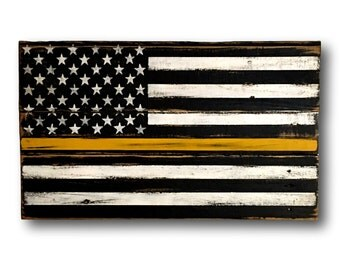 Thin Gold Line Flag - 911 Dispatcher Gift - Emergency Dispatcher Gift - Thin Gold Line Art- Thin Yellow Line Flag - Police Fire Dispatcher