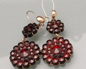 Imitation Bohemian Garnet Drop Earrings Vintage Wires Pierced Ears