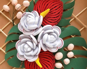 Paper Quilled Art, Floral Home Decor, Handmade Fake Flowers, Faux Flowers, Red Flowers, Botanical Art, White Rose, Red Anthurium, OOAK Gift