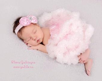 Baby tutu, pink tutu, pink pettiskirt, Baby Girls tutu, ivory, baby ruffle dress, vintage, baby petticoat, newborn tutu, newborn pettiskirt